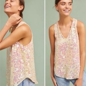 Anthro Moulinette Soeurs Sparkly Sequin Cami Top